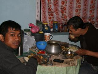Having dinner in Nepal